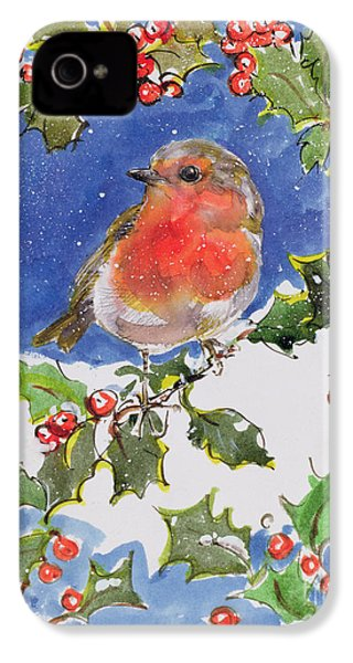 Christmas Robin IPhone 4 / 4s Case by Diane Matthes