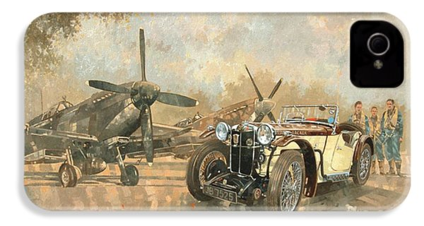 Cream Cracker Mg 4 Spitfires  IPhone 4 Case by Peter Miller