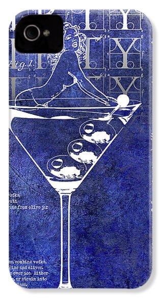 Dirty Dirty Martini Patent Blue IPhone 4 Case by Jon Neidert