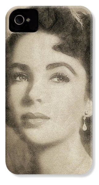 Elizabeth Taylor Hollywood Actress IPhone 4 Case by John Springfield