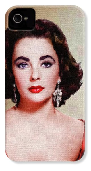 Elizabeth Taylor Hollywood Actress IPhone 4 Case by Mary Bassett