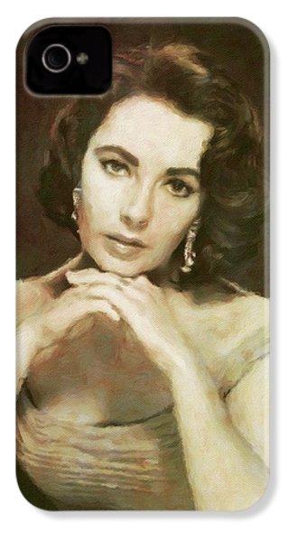 Elizabeth Taylor, Vintage Hollywood Legend By Mary Bassett IPhone 4 Case by Mary Bassett