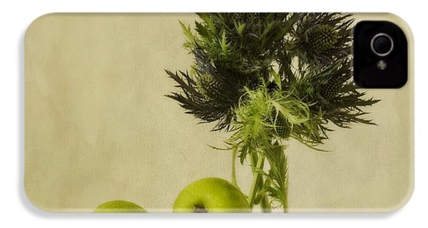 Green Apples And Blue Thistles IPhone 4 Case by Priska Wettstein