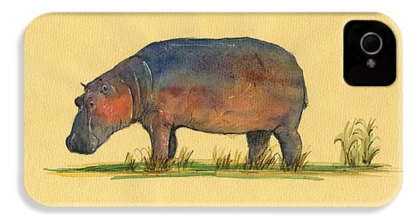 Hippo Watercolor Painting  IPhone 4 Case by Juan  Bosco