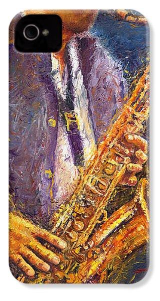 Jazz Saxophonist IPhone 4 / 4s Case by Yuriy  Shevchuk