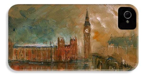 London Watercolor Painting IPhone 4 / 4s Case by Juan  Bosco