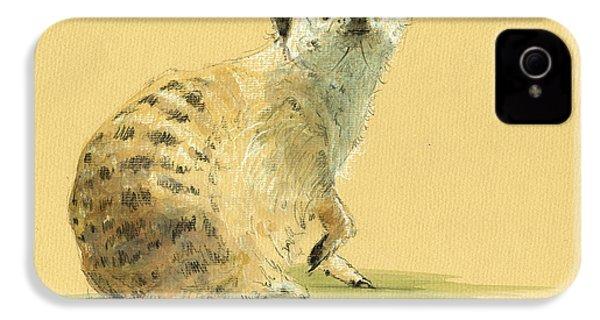 Meerkat Or Suricate Painting IPhone 4 Case by Juan  Bosco