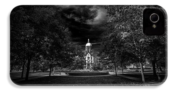Notre Dame University Black White IPhone 4 Case by David Haskett