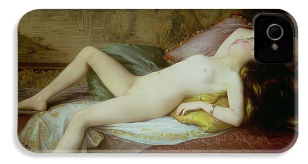 Nude Lying On A Chaise Longue IPhone 4 Case by Gustave-Henri-Eugene Delhumeau