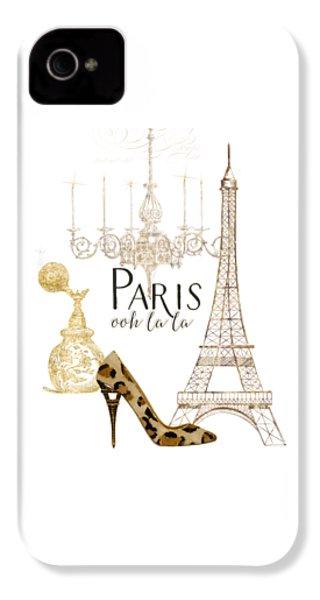 Paris - Ooh La La Fashion Eiffel Tower Chandelier Perfume Bottle IPhone 4 Case by Audrey Jeanne Roberts