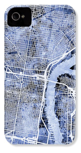 Philadelphia Pennsylvania City Street Map IPhone 4 / 4s Case by Michael Tompsett