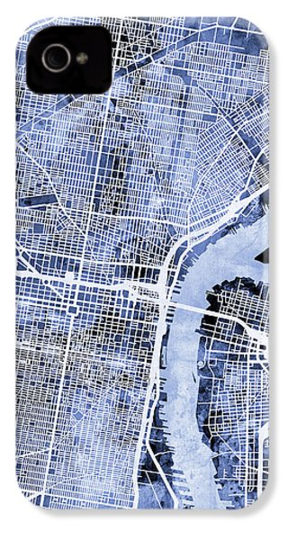 Philadelphia Pennsylvania City Street Map IPhone 4 Case by Michael Tompsett