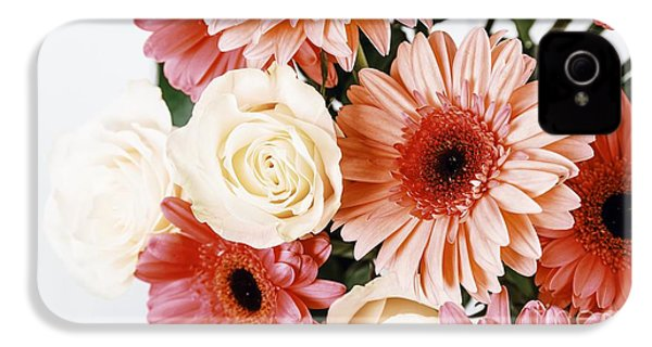 Pink Gerbera Daisy Flowers And White Roses Bouquet IPhone 4 Case