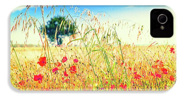 IPhone 4 Case featuring the photograph Poppies With Tree In The Distance by Silvia Ganora
