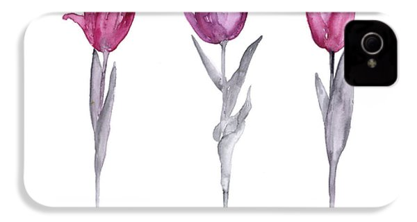 Purple Tulips Watercolor Painting IPhone 4 Case by Joanna Szmerdt