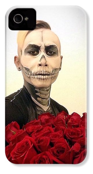 Skull Tux And Roses IPhone 4 Case by Kent Chua