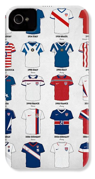 The Evolution Of The Us World Cup Soccer Jersey IPhone 4 Case by Taylan Apukovska
