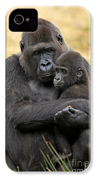 Western Gorilla And Young IPhone 4 / 4s Case by Jurgen & Christine Sohns/FLPA