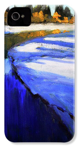 IPhone 4 Case featuring the painting Winter River by Nancy Merkle