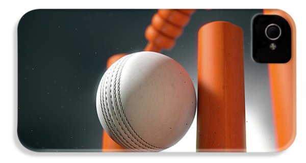 Cricket Ball Hitting Wickets IPhone 4 Case