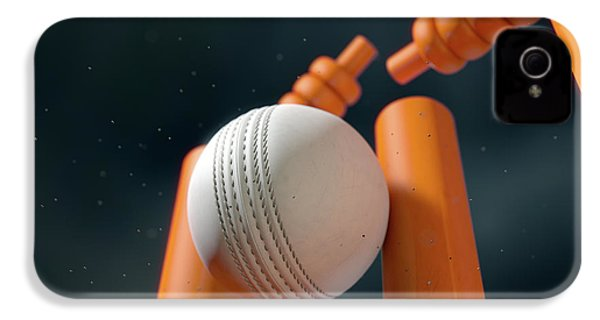 Cricket Ball Hitting Wickets IPhone 4 Case by Allan Swart