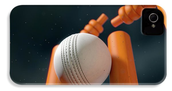 Cricket Ball Hitting Wickets IPhone 4 / 4s Case by Allan Swart