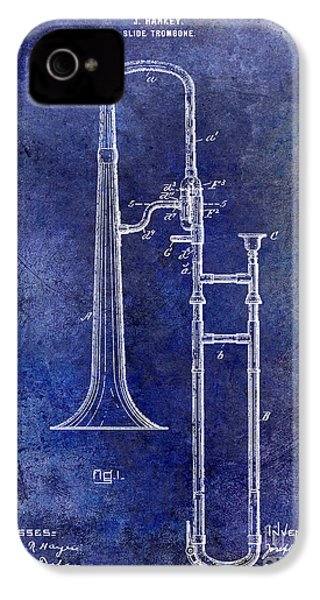 1902 Trombone Patent Blue IPhone 4 Case by Jon Neidert