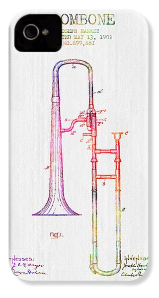 1902 Trombone Patent - Color IPhone 4 Case by Aged Pixel