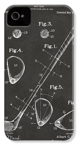 1910 Golf Club Patent Artwork - Gray IPhone 4 Case