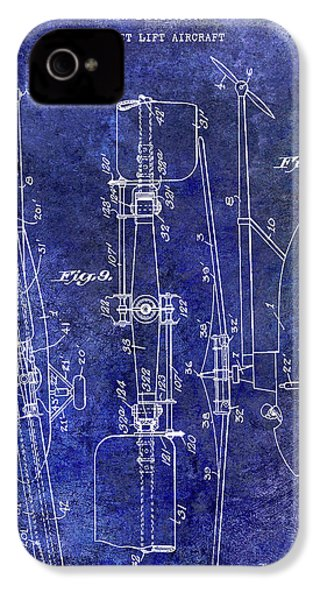 1935 Helicopter Patent Blue IPhone 4 Case by Jon Neidert