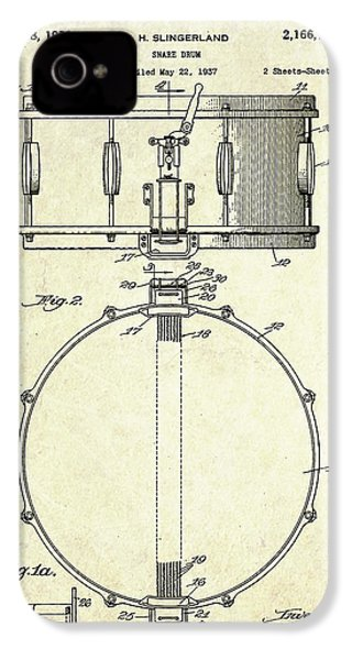 1939 Slingerland Snare Drum Patent S1 IPhone 4 Case by Gary Bodnar