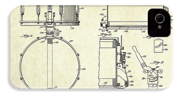 1939 Slingerland Snare Drum Patent Sheets IPhone 4 Case by Gary Bodnar