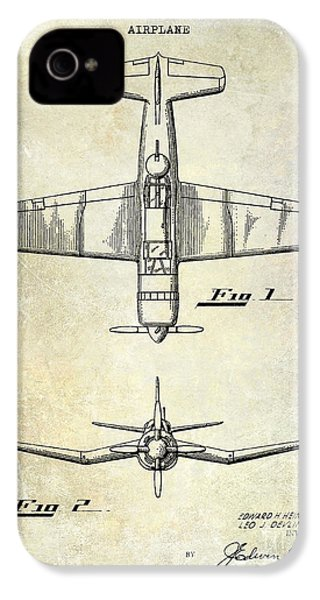 1946 Airplane Patent IPhone 4 Case by Jon Neidert