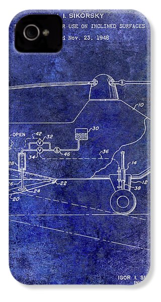 1953 Helicopter Patent Blue IPhone 4 Case by Jon Neidert