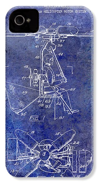 1956 Helicopter Patent Blue IPhone 4 Case by Jon Neidert