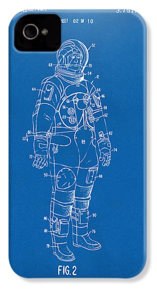 1973 Astronaut Space Suit Patent Artwork - Blueprint IPhone 4 / 4s Case by Nikki Marie Smith