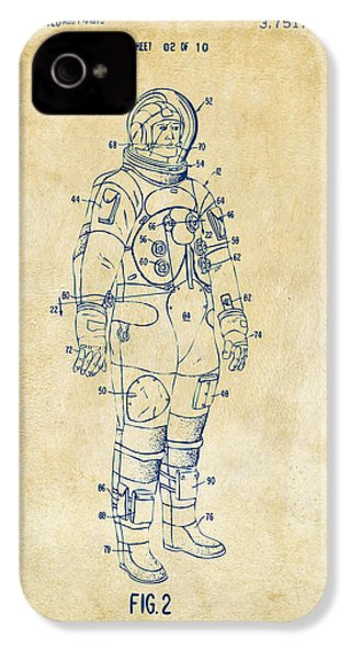 1973 Astronaut Space Suit Patent Artwork - Vintage IPhone 4 Case by Nikki Marie Smith