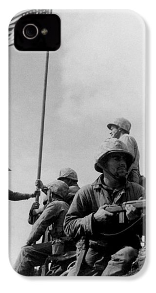1st Flag Raising On Iwo Jima  IPhone 4 Case by War Is Hell Store