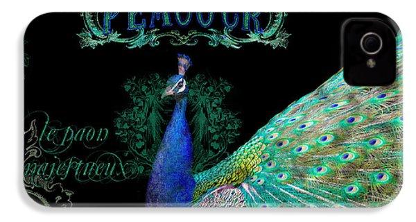 Elegant Peacock W Vintage Scrolls  IPhone 4 / 4s Case by Audrey Jeanne Roberts