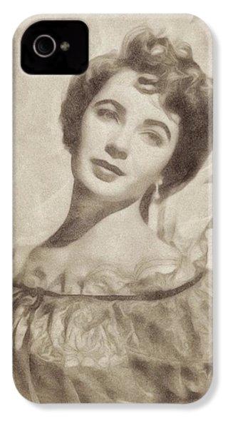 Elizabeth Taylor, Vintage Hollywood Legend By John Springfield IPhone 4 Case by John Springfield