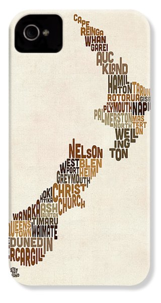 New Zealand Typography Text Map IPhone 4 / 4s Case by Michael Tompsett