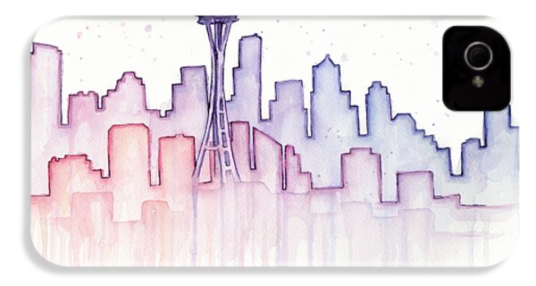 Seattle Skyline Watercolor IPhone 4 / 4s Case by Olga Shvartsur
