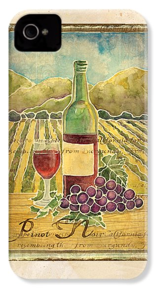 Vineyard Pinot Noir Grapes N Wine - Batik Style IPhone 4 / 4s Case by Audrey Jeanne Roberts