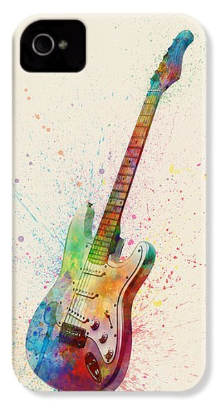 Electric Guitar Abstract Watercolor IPhone 4 Case