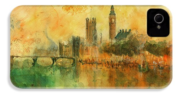 London Watercolor Painting IPhone 4 Case by Juan  Bosco