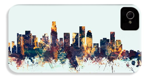Los Angeles California Skyline IPhone 4 / 4s Case by Michael Tompsett