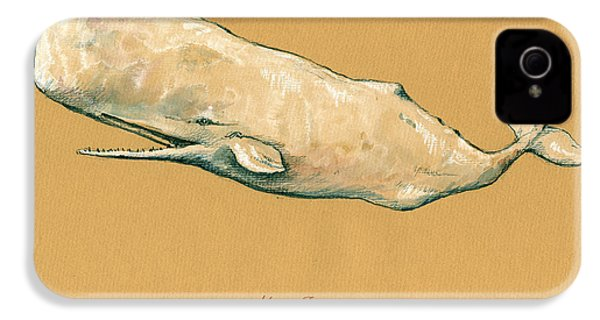 Moby Dick The White Sperm Whale  IPhone 4 Case by Juan  Bosco