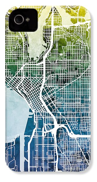 Seattle Washington Street Map IPhone 4 Case by Michael Tompsett