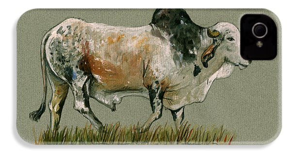 Zebu Cattle Art Painting IPhone 4 / 4s Case by Juan  Bosco