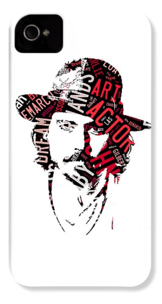 Johnny Depp Movie Titles IPhone 4 Case by Marvin Blaine
